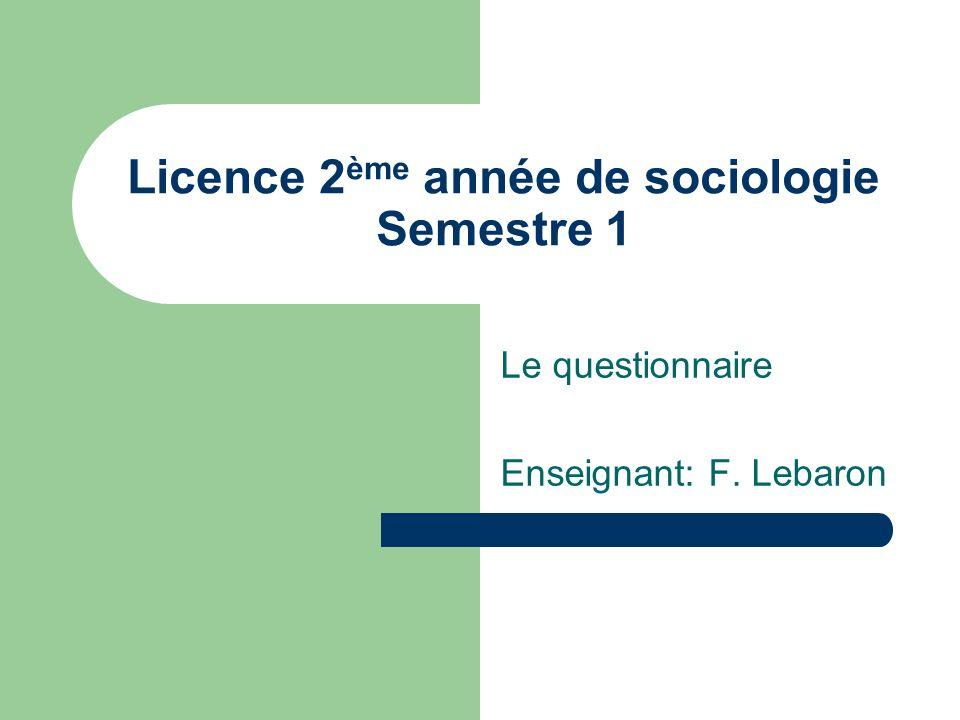 Licence 2ème année de sociologie Semestre 1