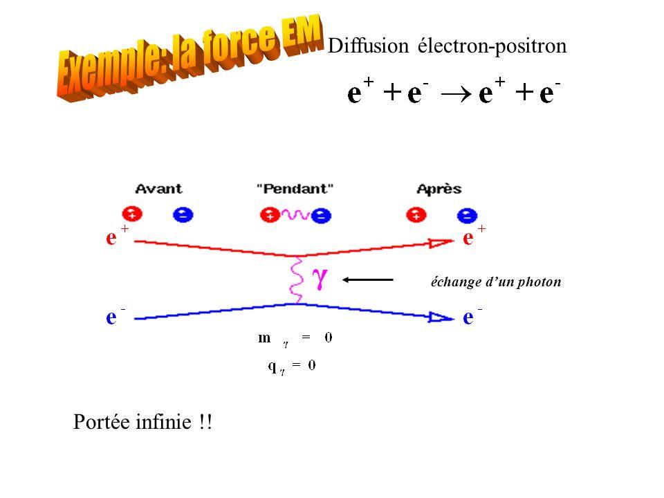 Exemple: la force EM Diffusion électron-positron Portée infinie !!
