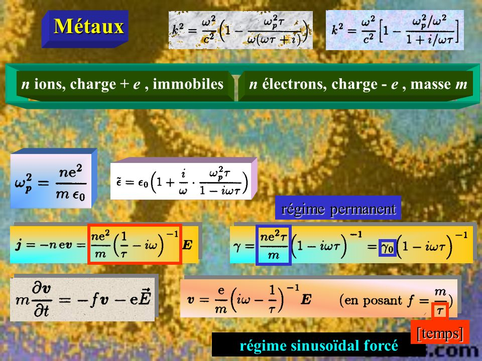 Métaux n ions, charge + e , immobiles