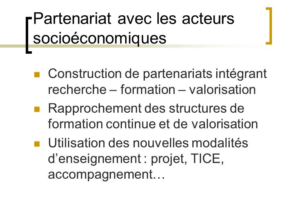 Partenariat avec les acteurs socioéconomiques