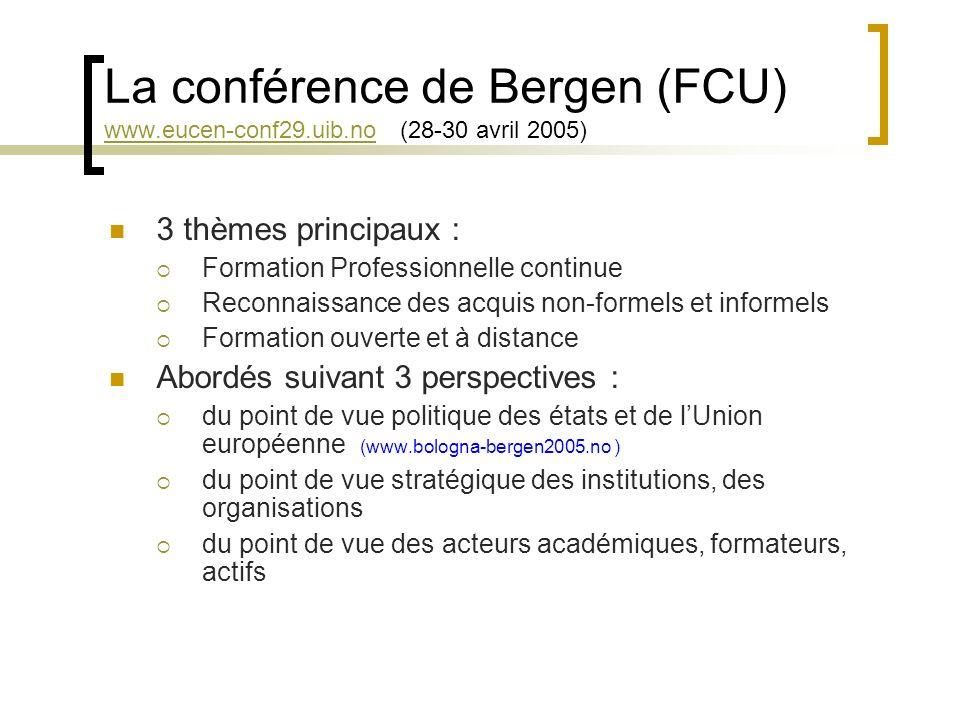 La conférence de Bergen (FCU) www. eucen-conf29. uib