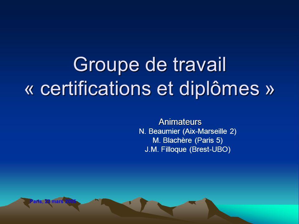 Groupe de travail « certifications et diplômes »