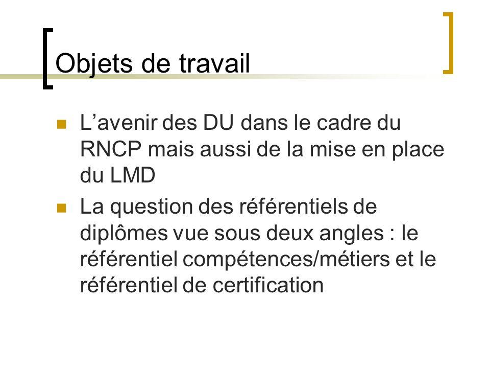 Objets de travail L'avenir des DU dans le cadre du RNCP mais aussi de la mise en place du LMD.