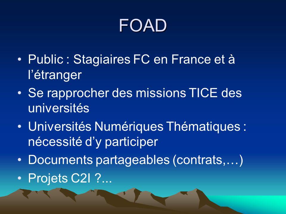 FOAD Public : Stagiaires FC en France et à l'étranger