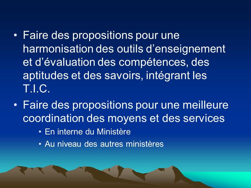 Faire des propositions pour une harmonisation des outils d'enseignement et d'évaluation des compétences, des aptitudes et des savoirs, intégrant les T.I.C.