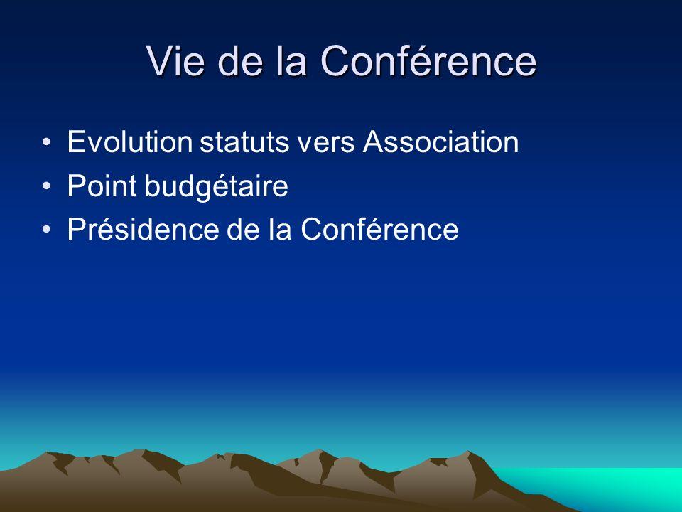 Vie de la Conférence Evolution statuts vers Association