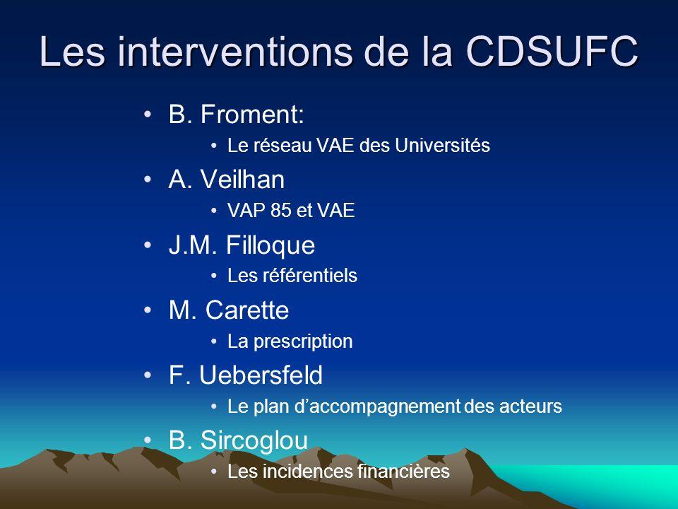 Les interventions de la CDSUFC