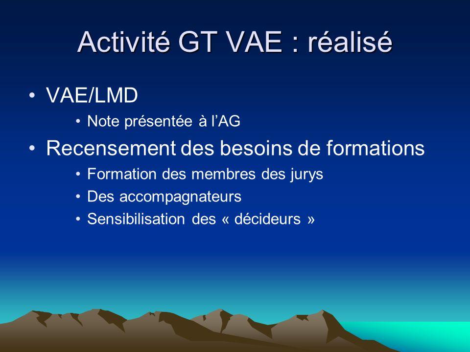 Activité GT VAE : réalisé