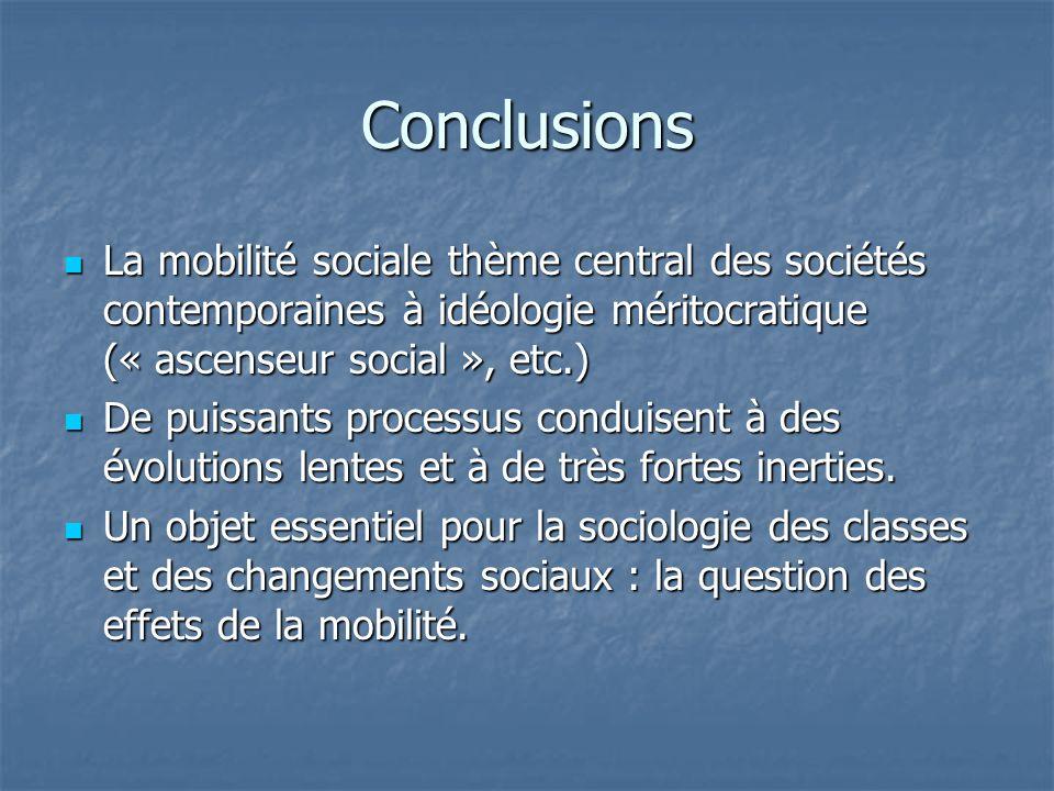 Conclusions La mobilité sociale thème central des sociétés contemporaines à idéologie méritocratique (« ascenseur social », etc.)