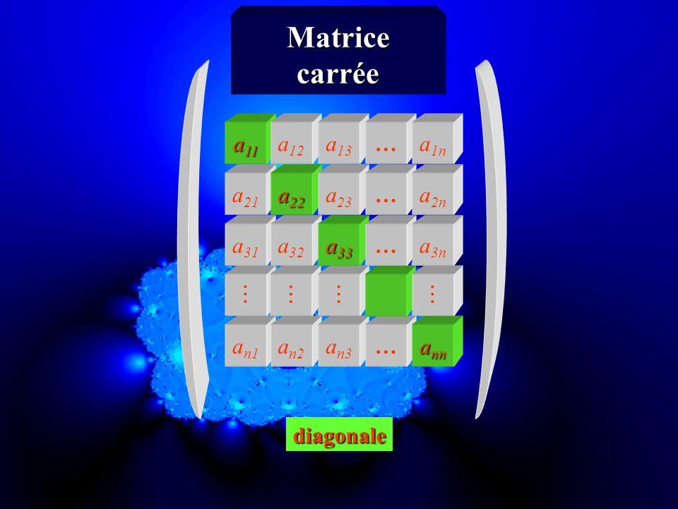 Matrice carrée a11 a12 a13 … a1n a21 a22 a23 … a2n a31 a32 a33 … a3n 
