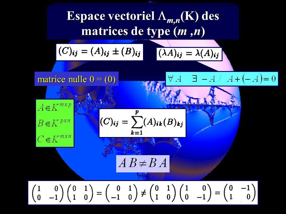 Espace vectoriel m,n(K) des matrices de type (m ,n)