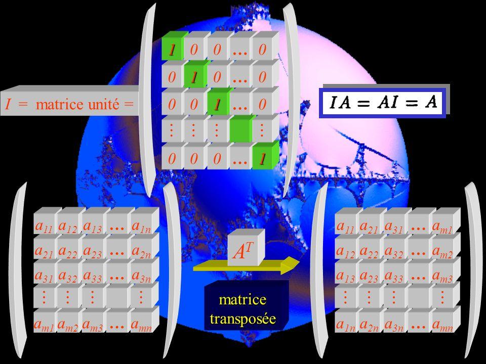 AT  I = matrice unité = … 1 am1  am2 am3 … amn a31 a32 a33 a3n a21