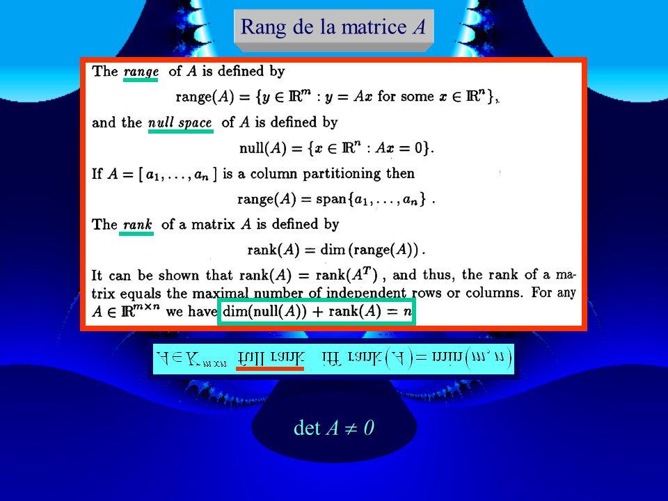 Rang de la matrice A det A  0