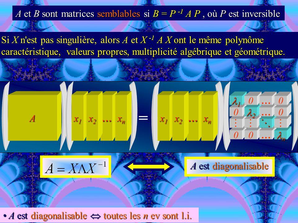 A et B sont matrices semblables si B = P -1 A P , où P est inversible