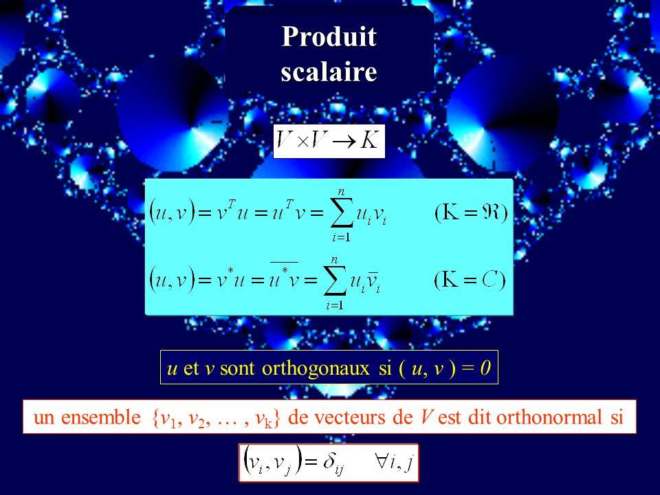 un ensemble {v1, v2, … , vk} de vecteurs de V est dit orthonormal si