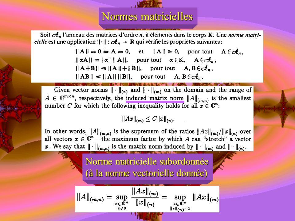 Normes matricielles Norme matricielle subordonnée