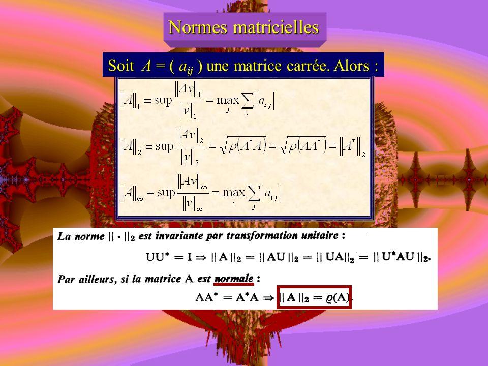 Soit A = ( aij ) une matrice carrée. Alors :
