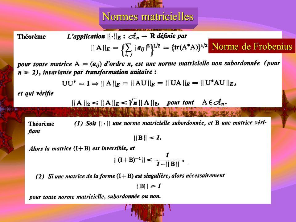 Normes matricielles Norme de Frobenius