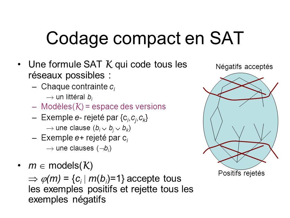 Codage compact en SAT Une formule SAT K qui code tous les réseaux possibles : Chaque contrainte ci.