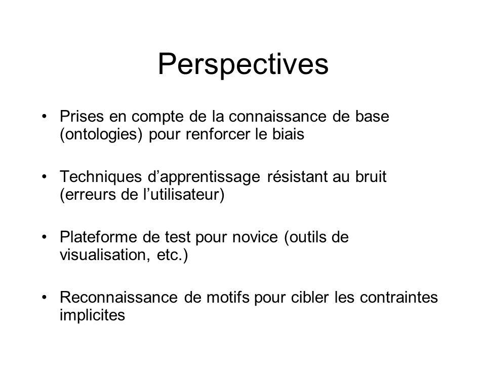 Perspectives Prises en compte de la connaissance de base (ontologies) pour renforcer le biais.