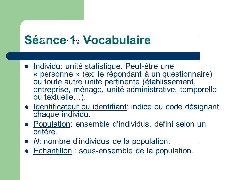 Séance 1. Vocabulaire