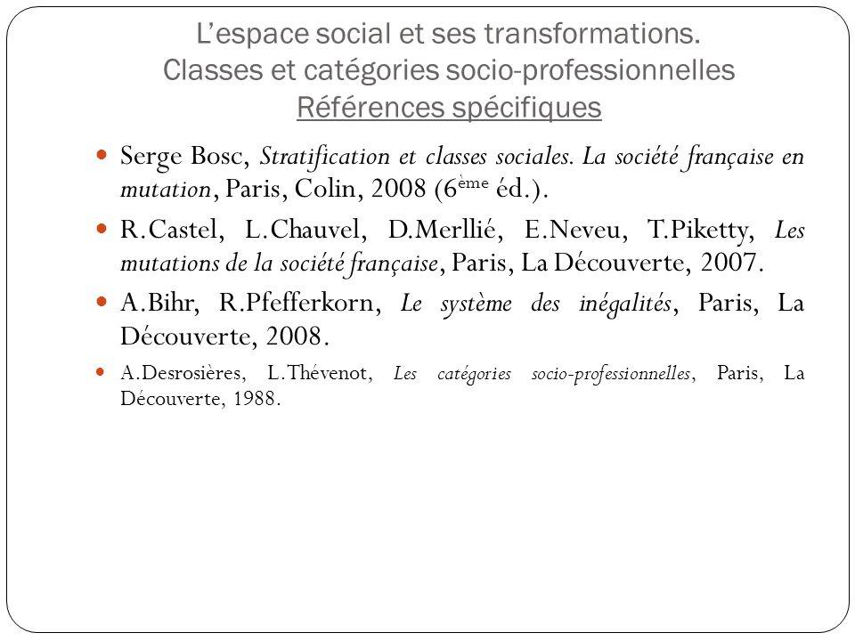 L'espace social et ses transformations