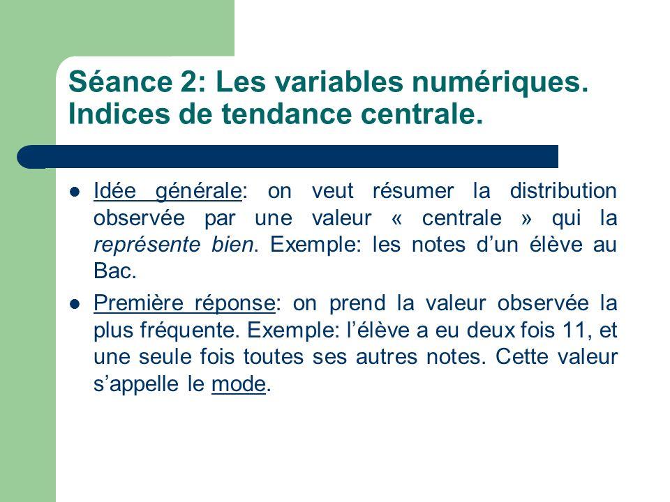Séance 2: Les variables numériques. Indices de tendance centrale.