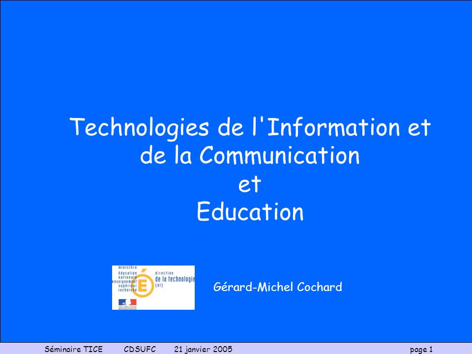 Technologies de l'Information et de la Communication - ppt ...