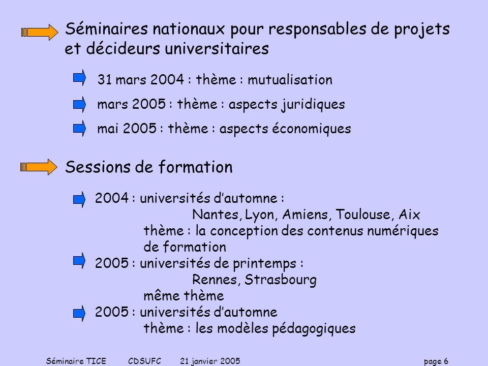 Séminaires nationaux pour responsables de projets et décideurs universitaires