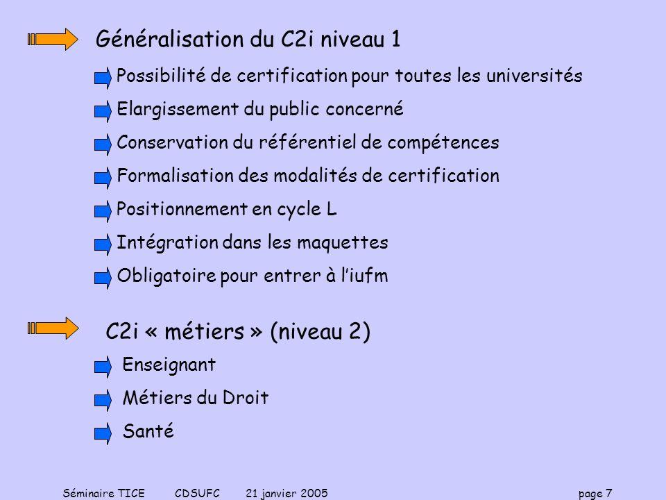 Généralisation du C2i niveau 1