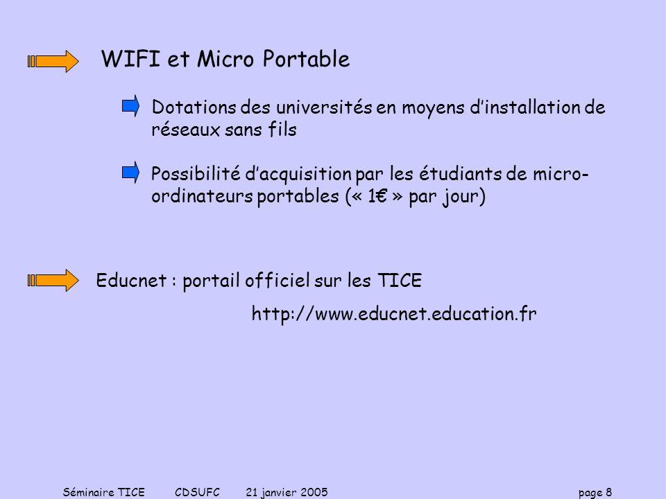 WIFI et Micro PortableDotations des universités en moyens d'installation de réseaux sans fils.