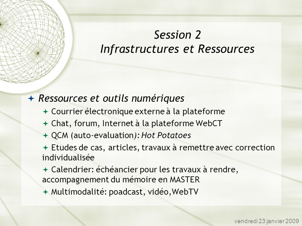 Session 2 Infrastructures et Ressources