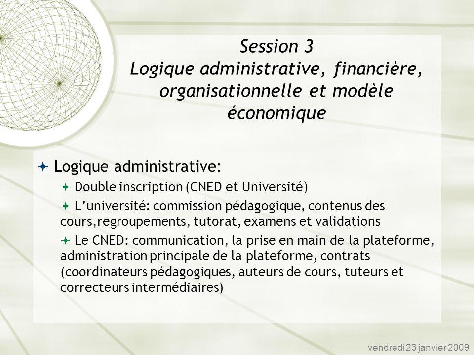 Session 3 Logique administrative, financière, organisationnelle et modèle économique
