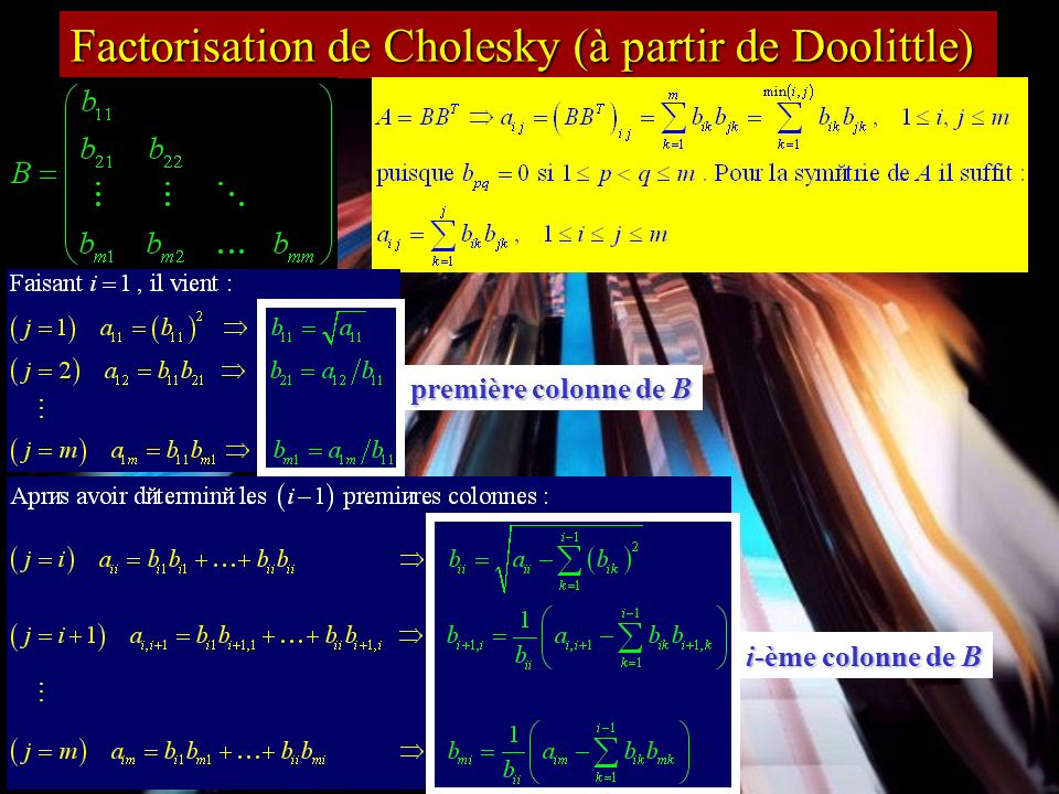 Factorisation de Cholesky (à partir de Doolittle)