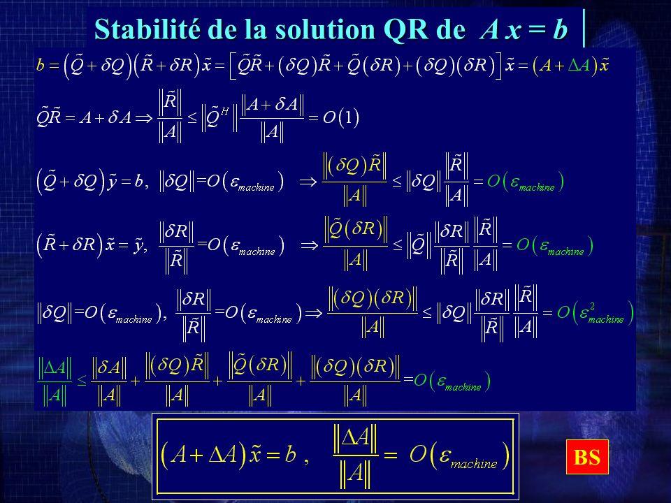 Stabilité de la solution QR de A x = b