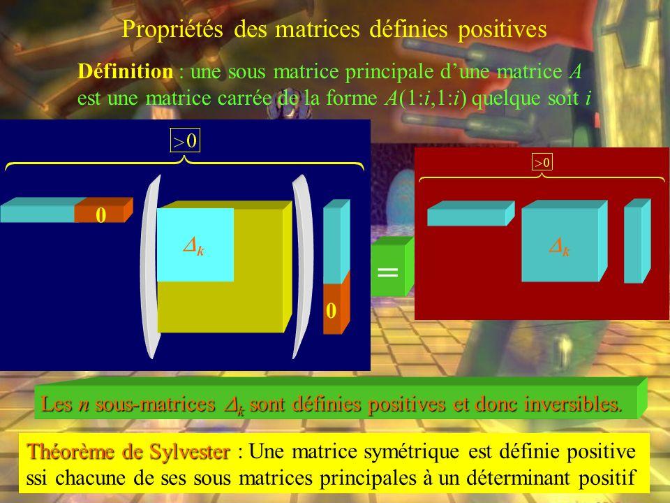 Propriétés des matrices définies positives
