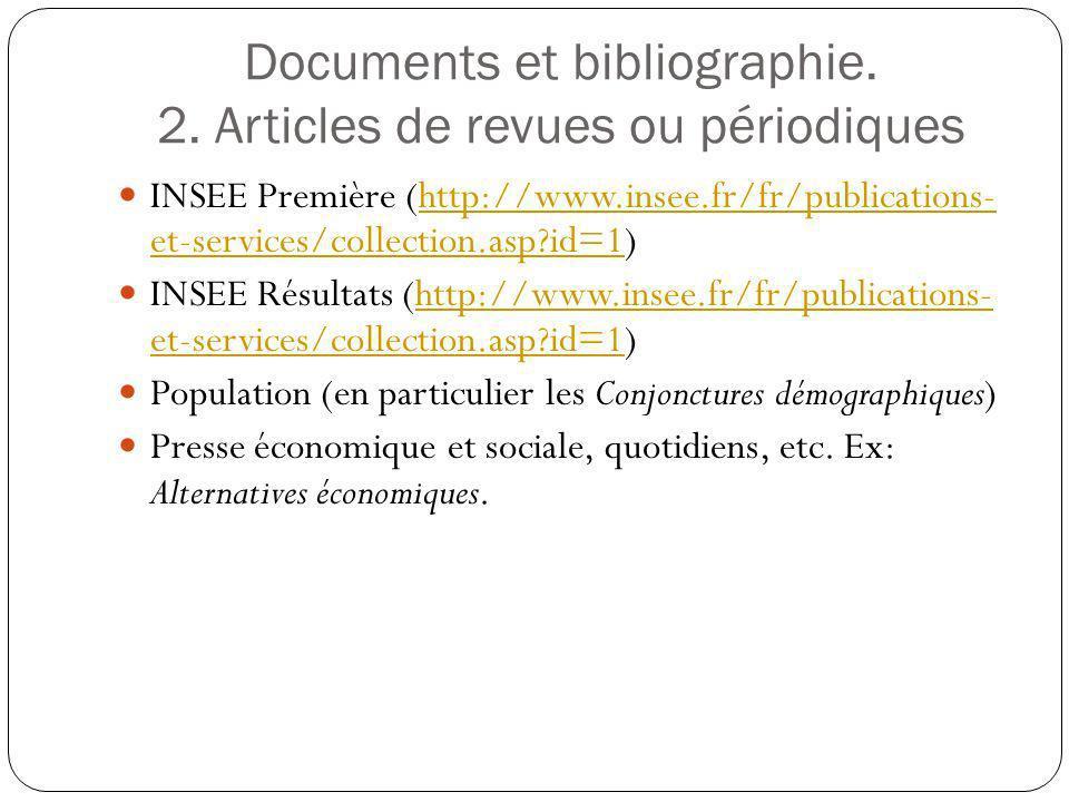 Documents et bibliographie. 2. Articles de revues ou périodiques