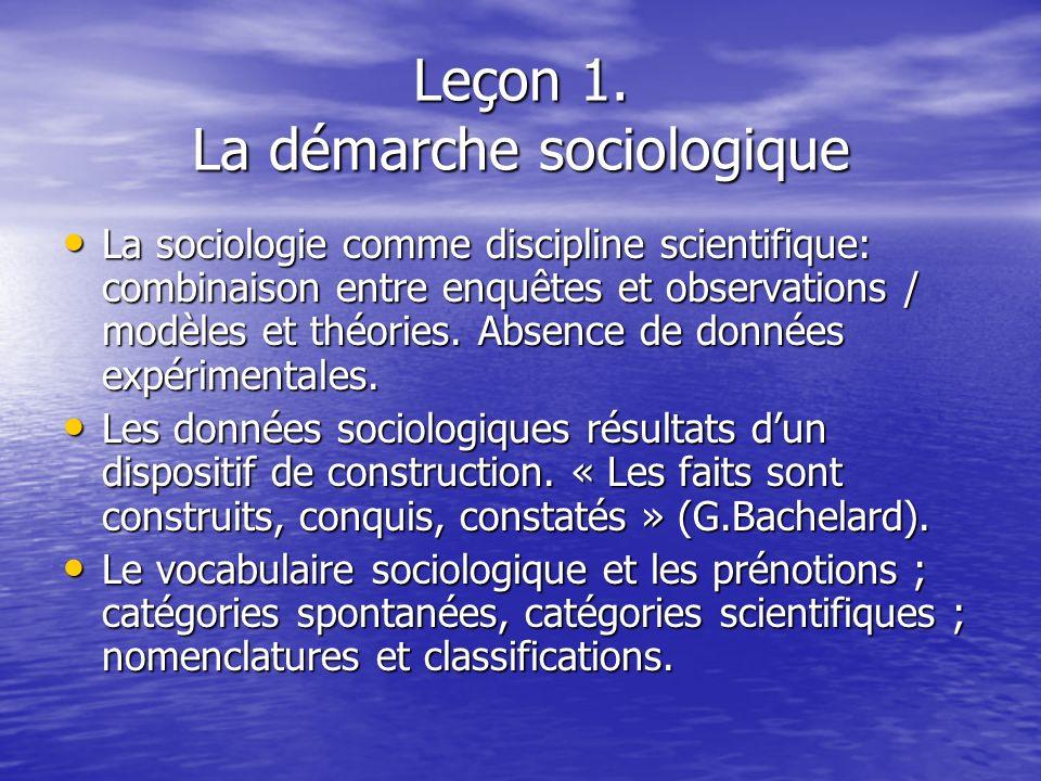 Leçon 1. La démarche sociologique
