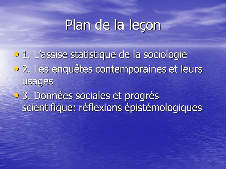 Plan de la leçon 1. L'assise statistique de la sociologie