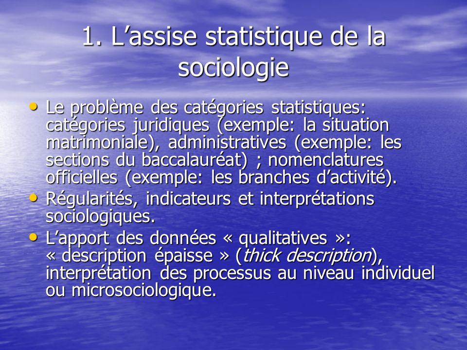 1. L'assise statistique de la sociologie