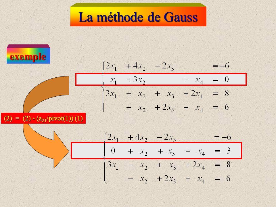 La méthode de Gauss exemple (2) = (2) - (a21/pivot(1)) (1)