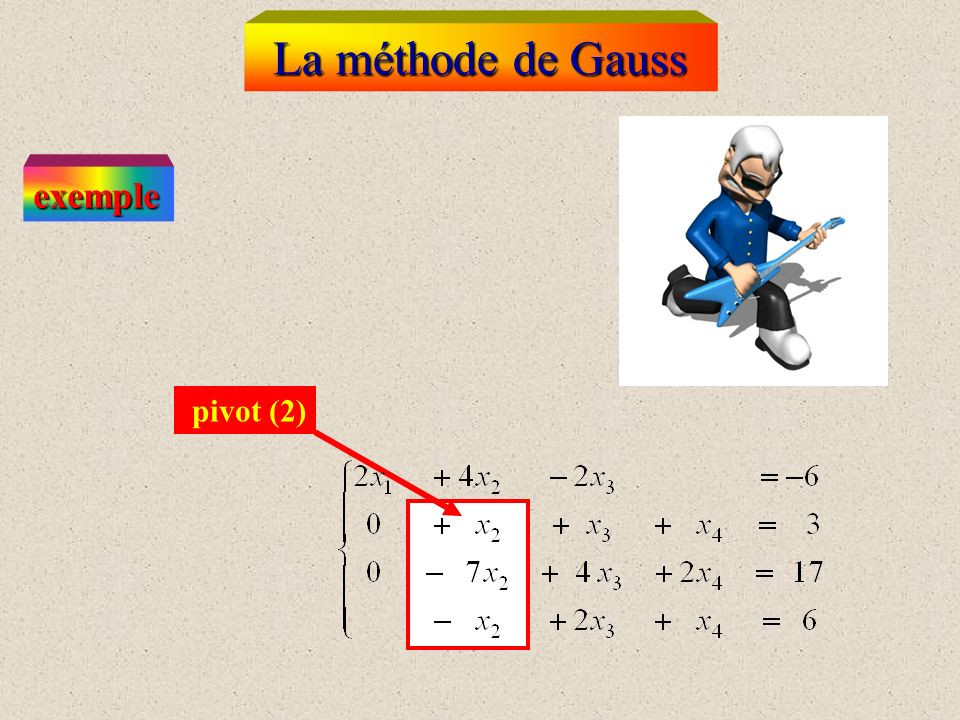 La méthode de Gauss exemple pivot (2)