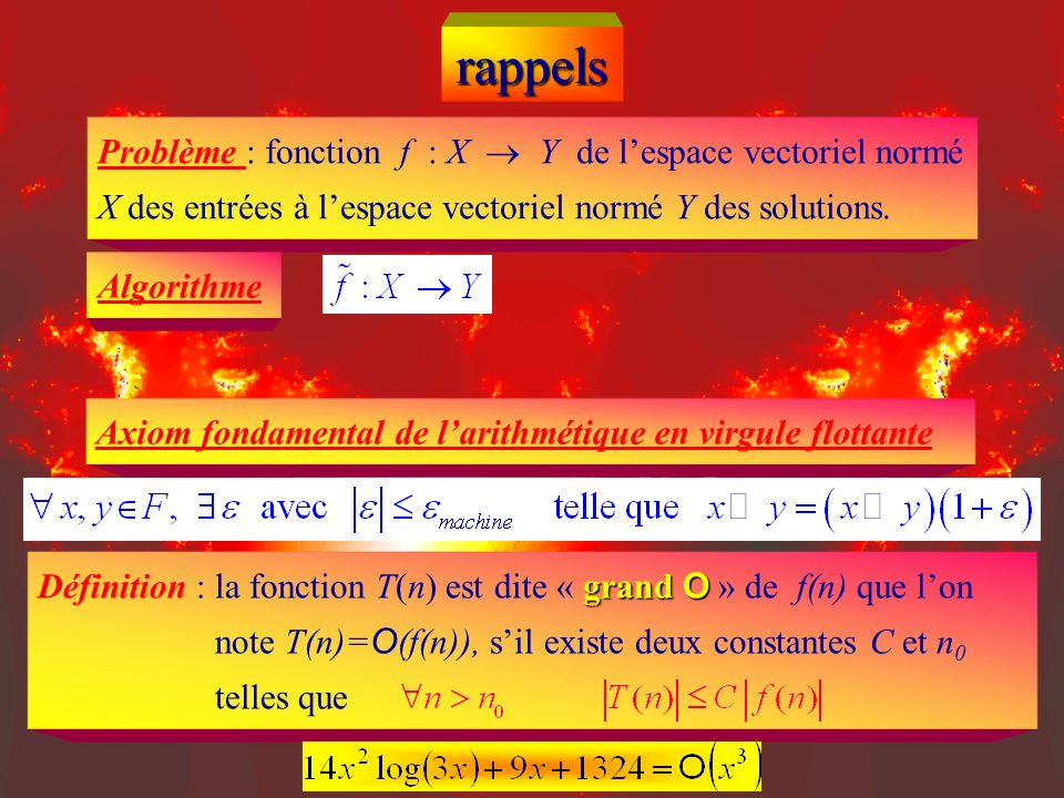 rappelsProblème : fonction f : X  Y de l'espace vectoriel normé X des entrées à l'espace vectoriel normé Y des solutions.