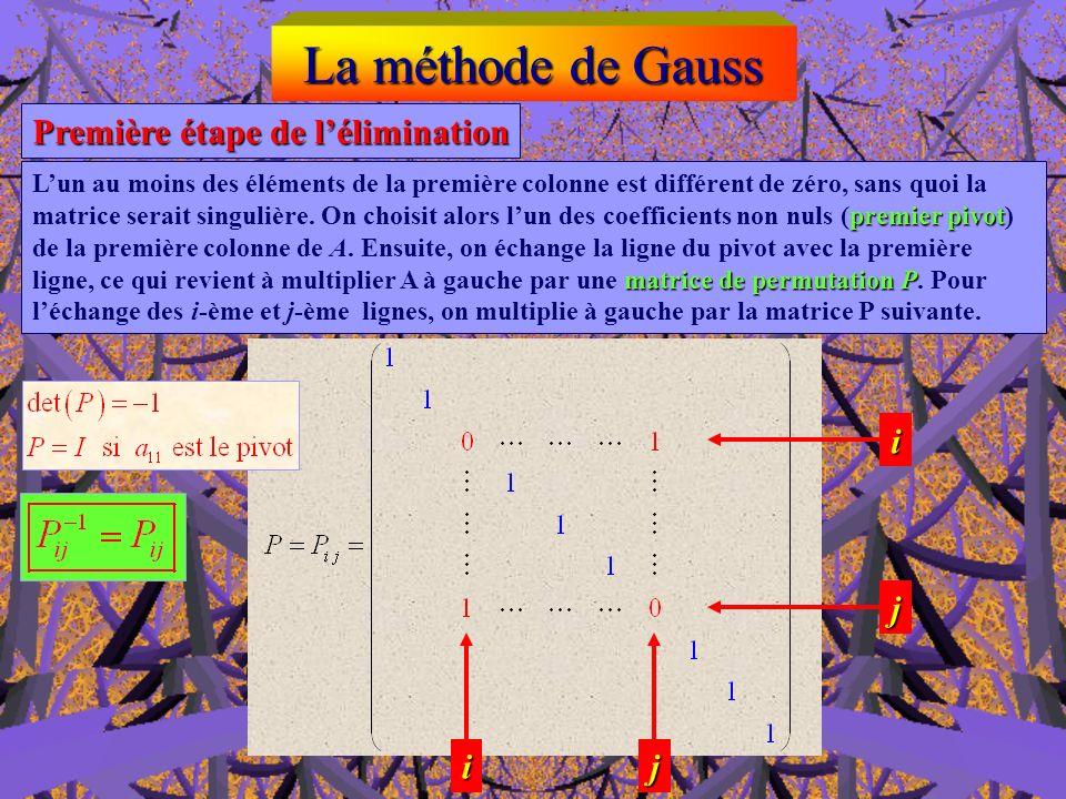 La méthode de Gauss Première étape de l'élimination i j i j