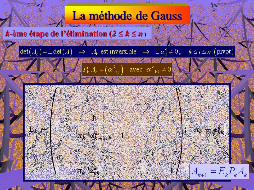 La méthode de Gauss k-ème étape de l'élimination (2  k  n )
