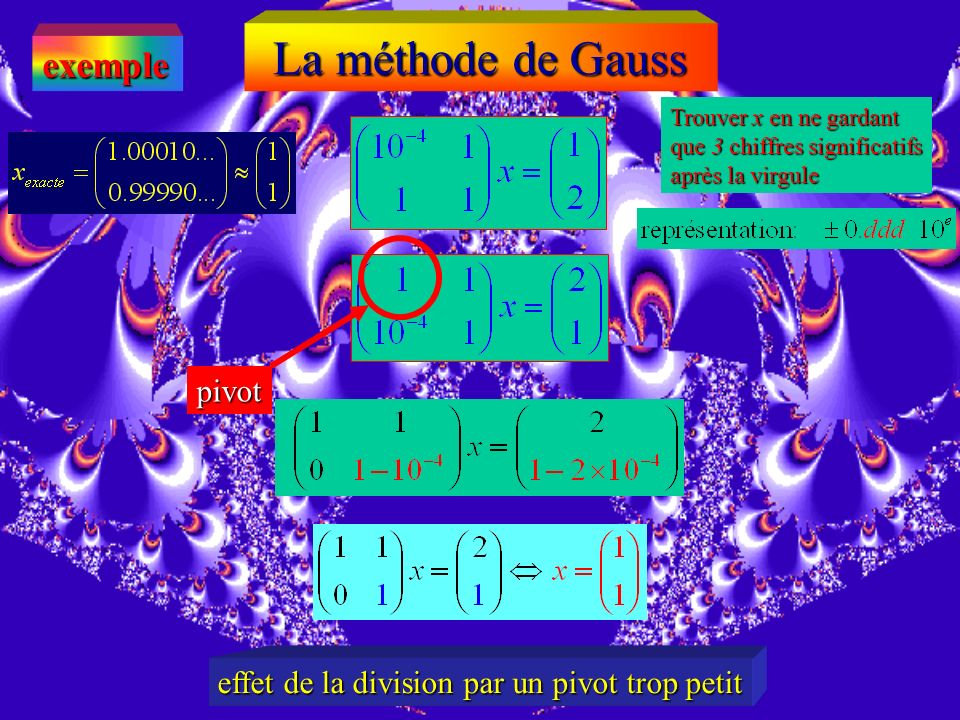 La méthode de Gauss exemple pivot