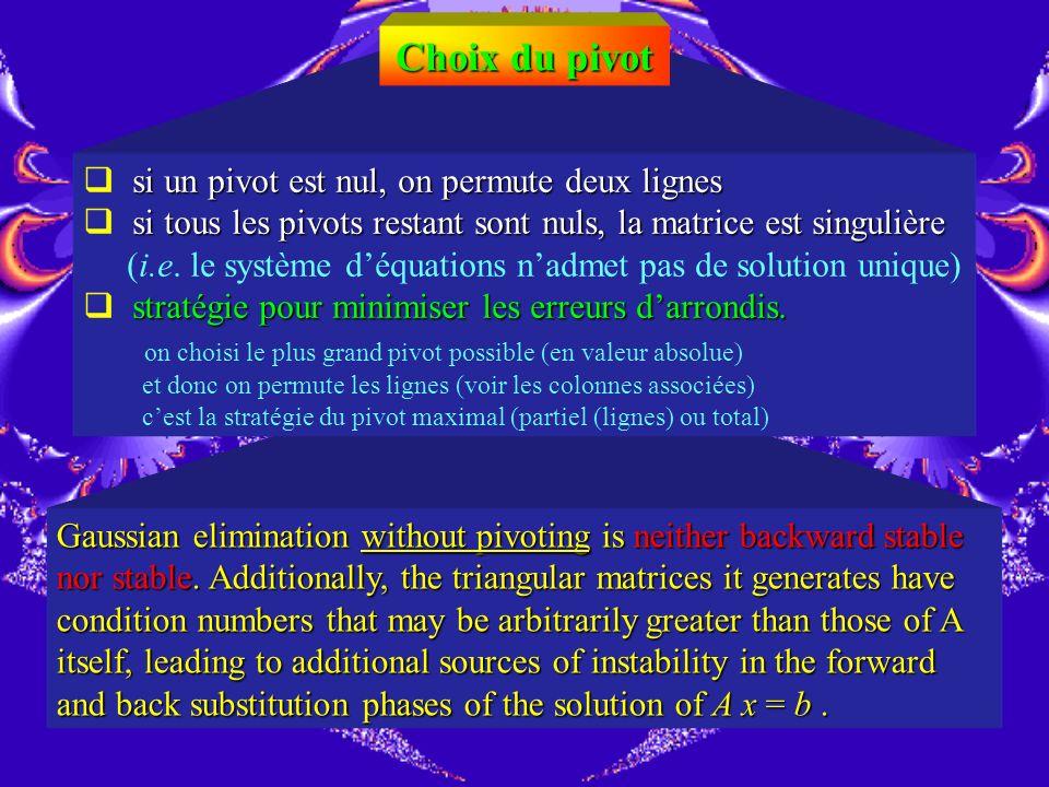 Choix du pivot si un pivot est nul, on permute deux lignes