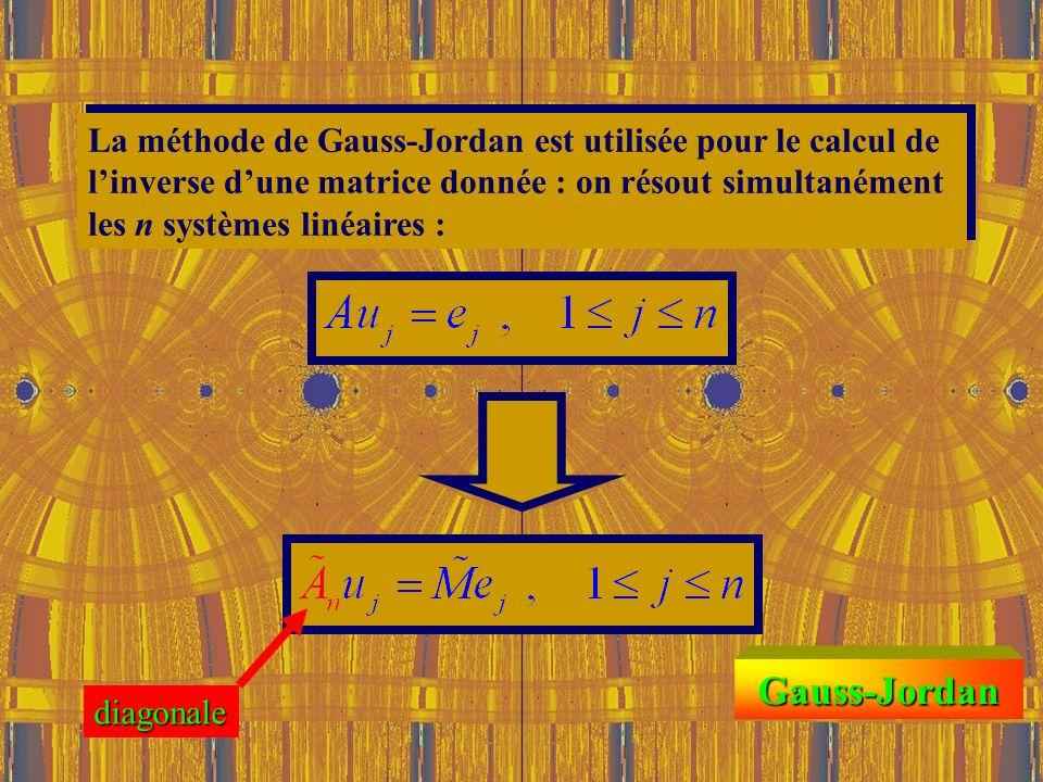 La méthode de Gauss-Jordan est utilisée pour le calcul de l'inverse d'une matrice donnée : on résout simultanément les n systèmes linéaires :