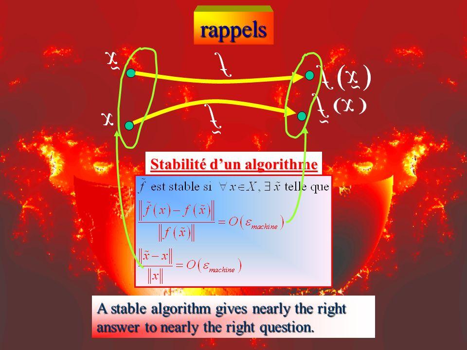 rappels Stabilité d'un algorithme