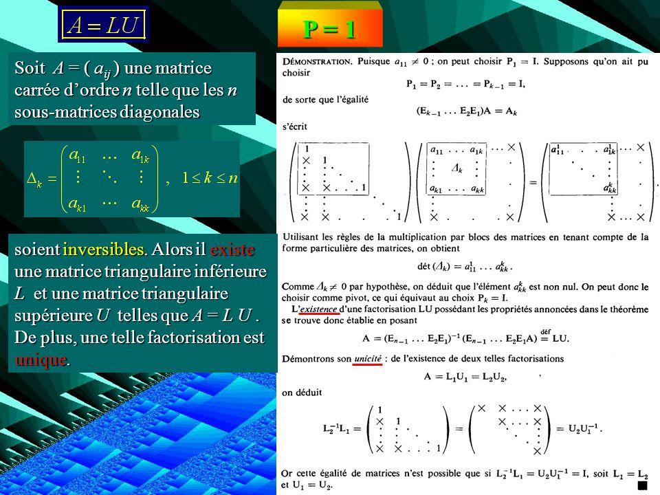 P = 1Soit A = ( aij ) une matrice carrée d'ordre n telle que les n sous-matrices diagonales.